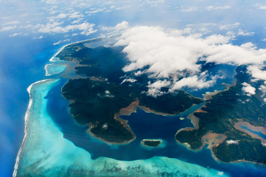 Holiday in Tahiti- Islands of Bora Bora from above